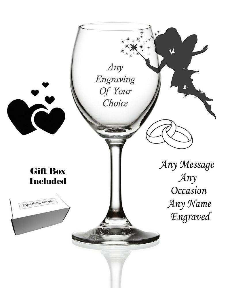 Personalised Engraved Wine Glass Birthday Gift Anniversary Wedding - ukgiftstoreonline