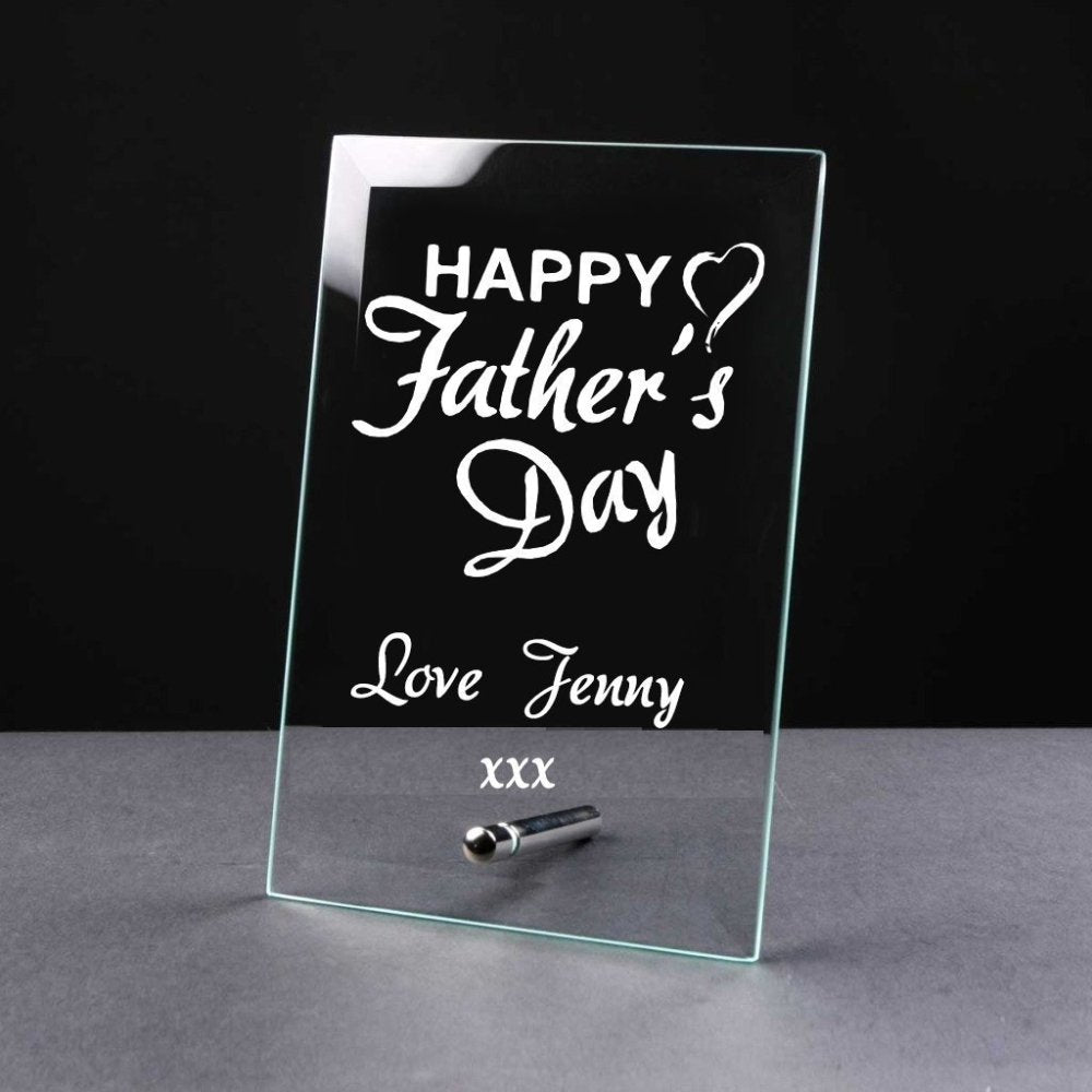 Personalised Fathers Day Gift Glass Plaque - ukgiftstoreonline