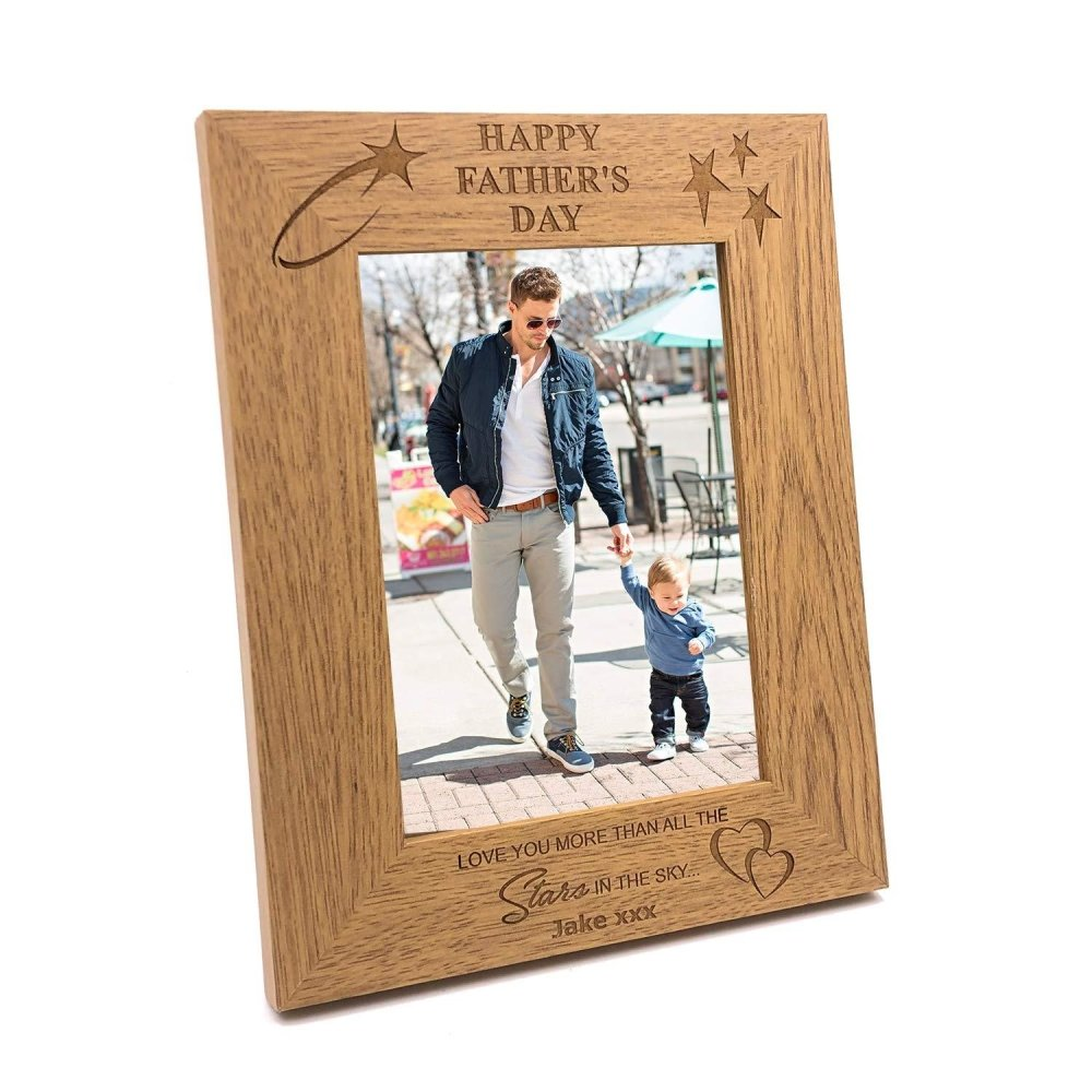 Personalised Fathers Day Love You Wooden Photo Frame Gift - ukgiftstoreonline