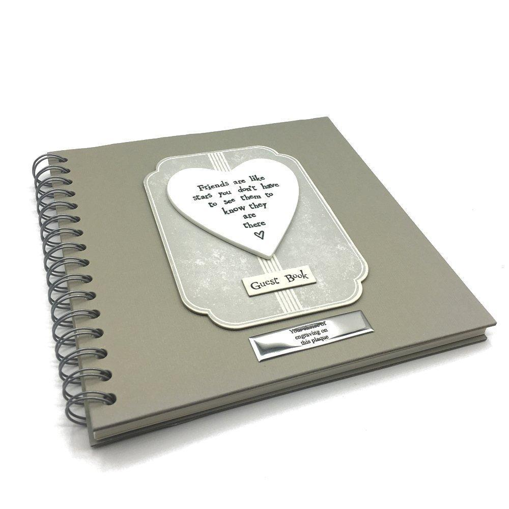 Personalised Friends are like stars Versed Heart Guest Book - ukgiftstoreonline