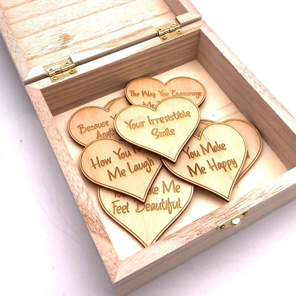 Personalised Gift for Him 10 Reasons why I Love You Wooden Box and Hearts - ukgiftstoreonline