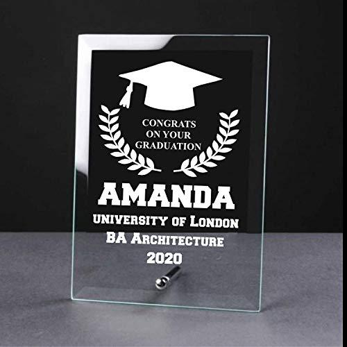 Personalised Graduation congratulations Laurel Design Glass Plaque - ukgiftstoreonline