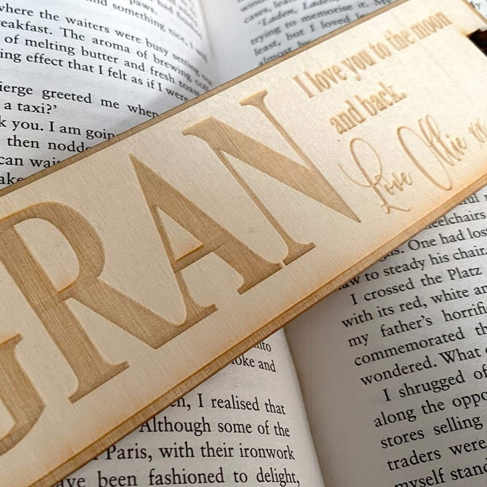 Personalised Gran Gift Wooden Bookmark with Sentiment - ukgiftstoreonline