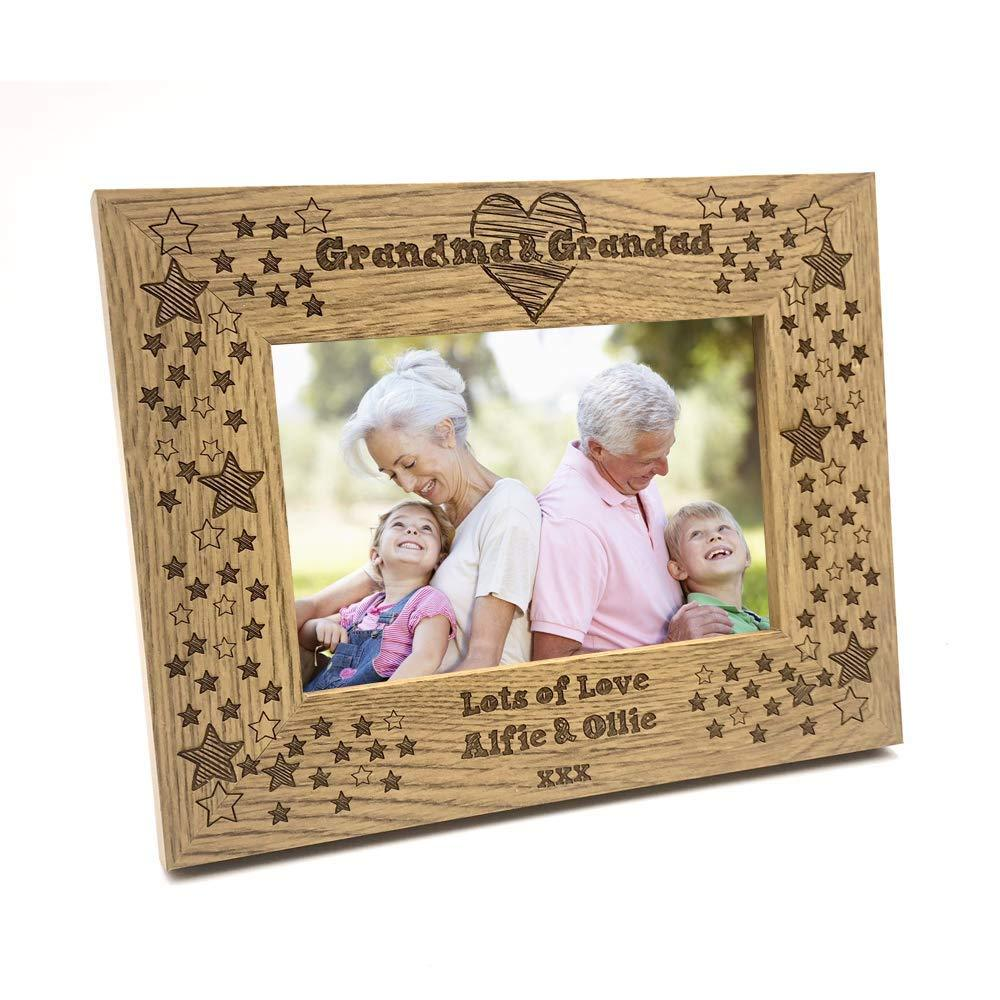 Personalised Grandma & Grandad Photo Frame Star and Heart Design - ukgiftstoreonline