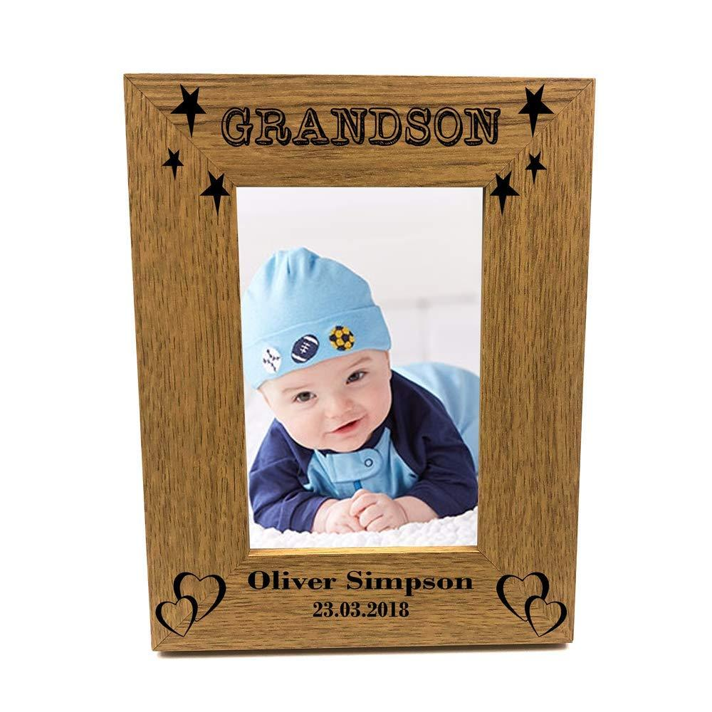 Personalised Grandson Portrait Wooden Photo Frame Gift - ukgiftstoreonline