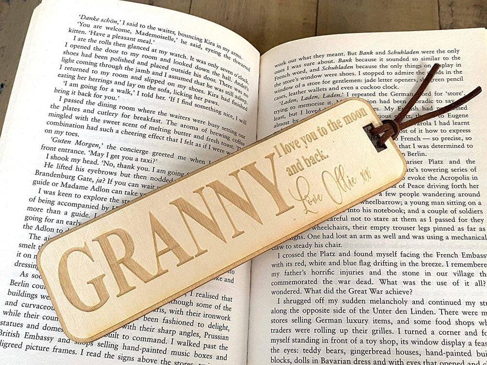 Personalised Granny Gift Wooden Bookmark with Sentiment - ukgiftstoreonline