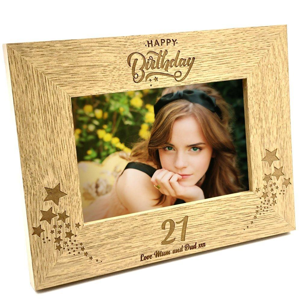 Personalised Happy Birthday Wooden Photo Frame Gift Any Age 1st, 13th, 16th, 18th, 21st, 30th, 40th, 50th, 60th, 70th, 80th, 90th etc - ukgiftstoreonline