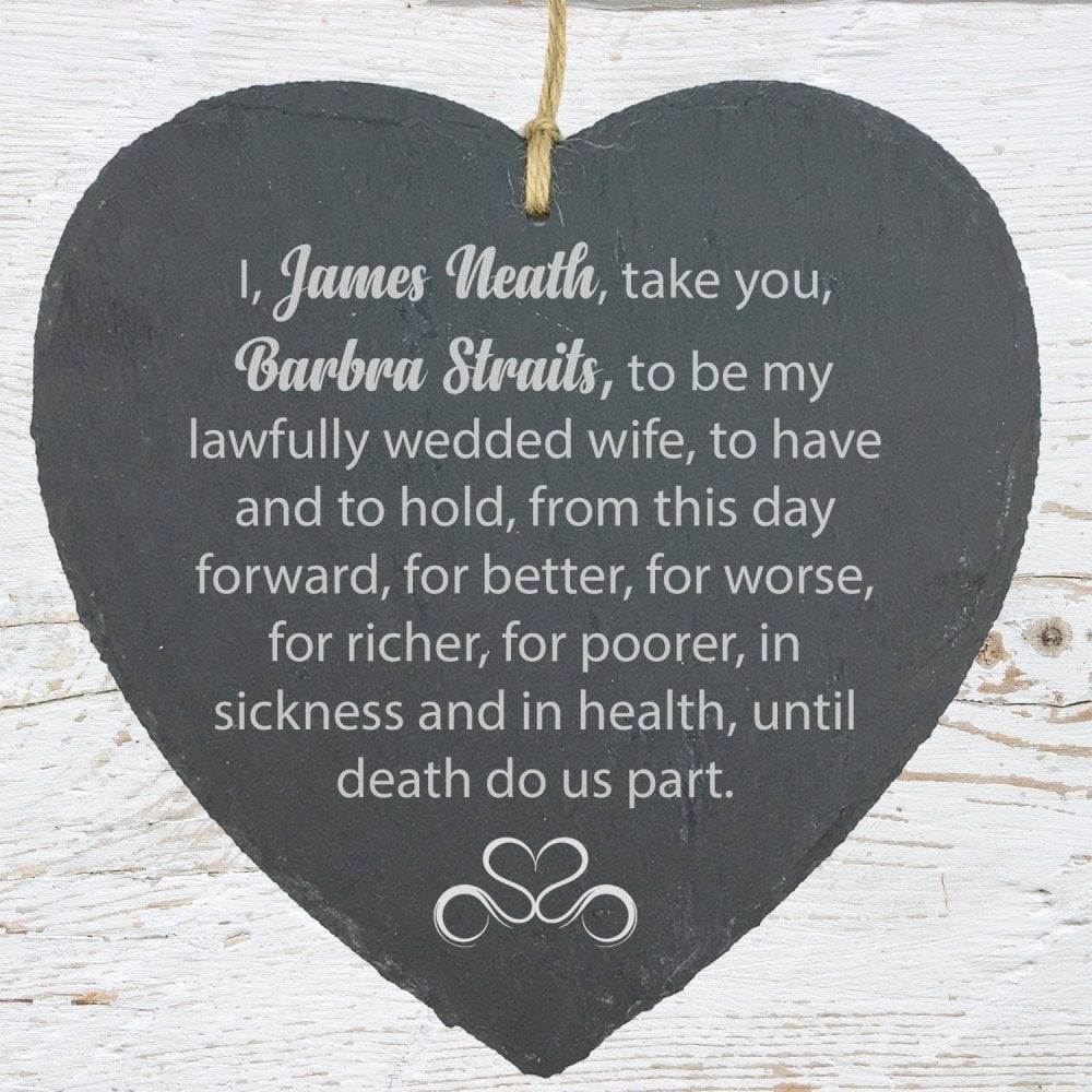 Personalised Husband Wife Wedding Vow Large Heart Slate - ukgiftstoreonline