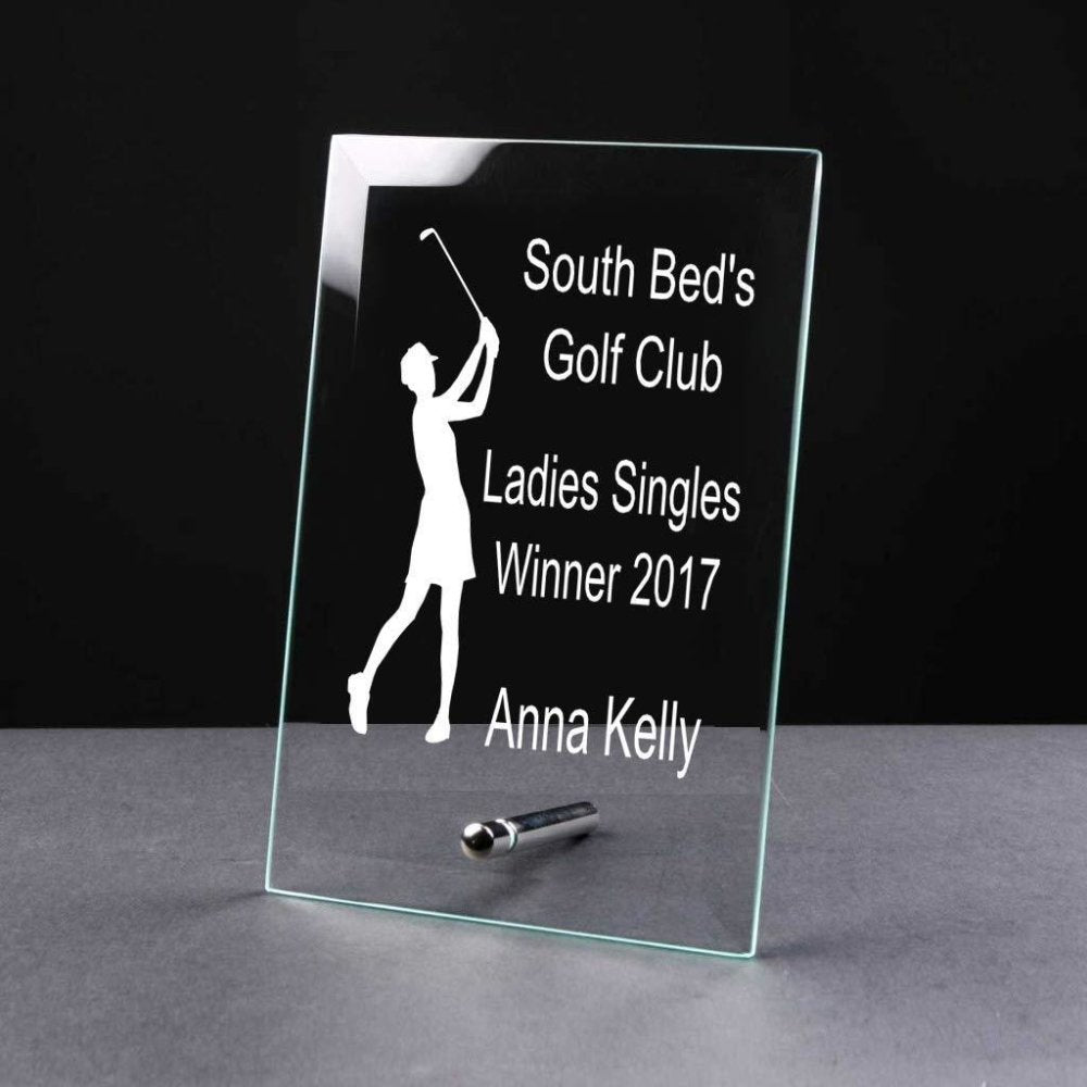 Personalised Ladies Golf Awards Trophy Glass Plaque - ukgiftstoreonline