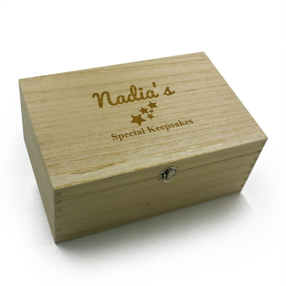 Personalised Large Baby wooden Memories Keepsake Box - ukgiftstoreonline
