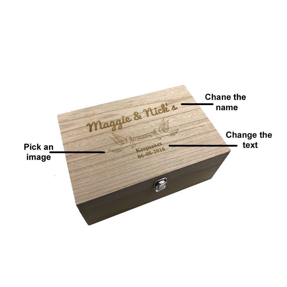 Personalised Large Wedding wooden Memories Keepsake Box - ukgiftstoreonline