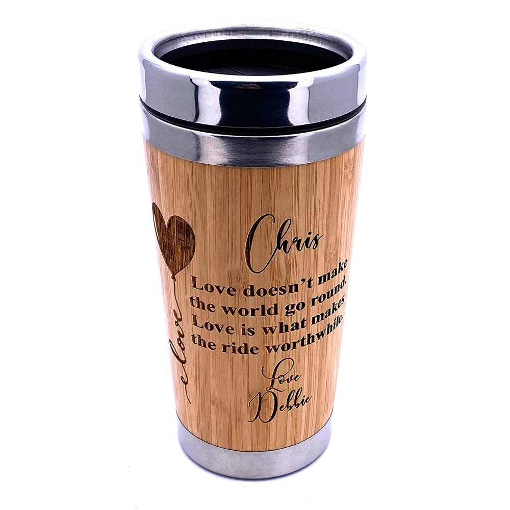 Personalised Love Themed Bamboo Insulated Travel Mug Gift - ukgiftstoreonline