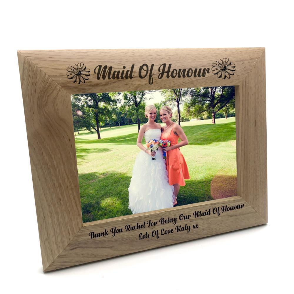 Personalised Maid Of Honour Wooden Photo Frame Gift - ukgiftstoreonline