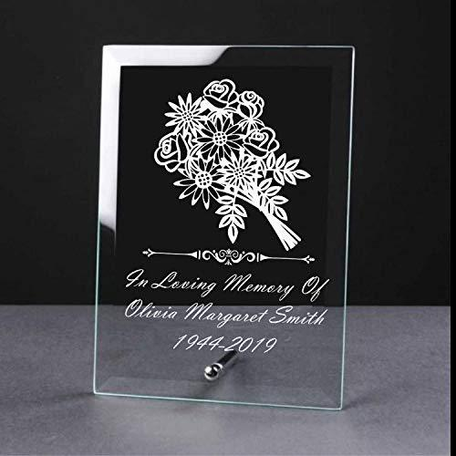 Personalised Memorial In Loving Memory Remembrance Glass Plaque - ukgiftstoreonline