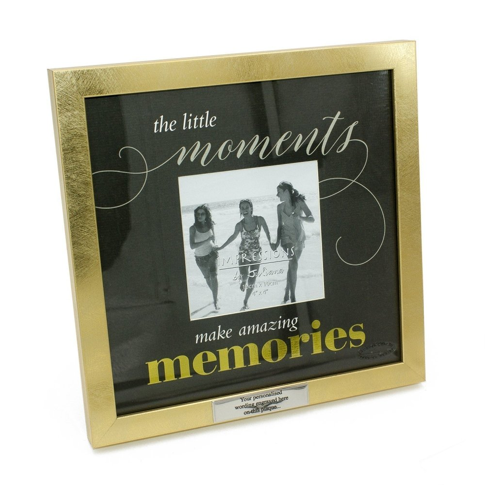 Personalised Memories photo frame gift with gold border - ukgiftstoreonline