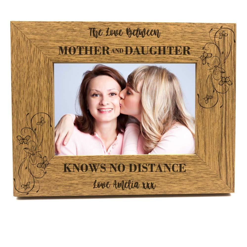 Personalised Mother & Daughter Knows No Distance Wooden Photo Frame Gift - ukgiftstoreonline