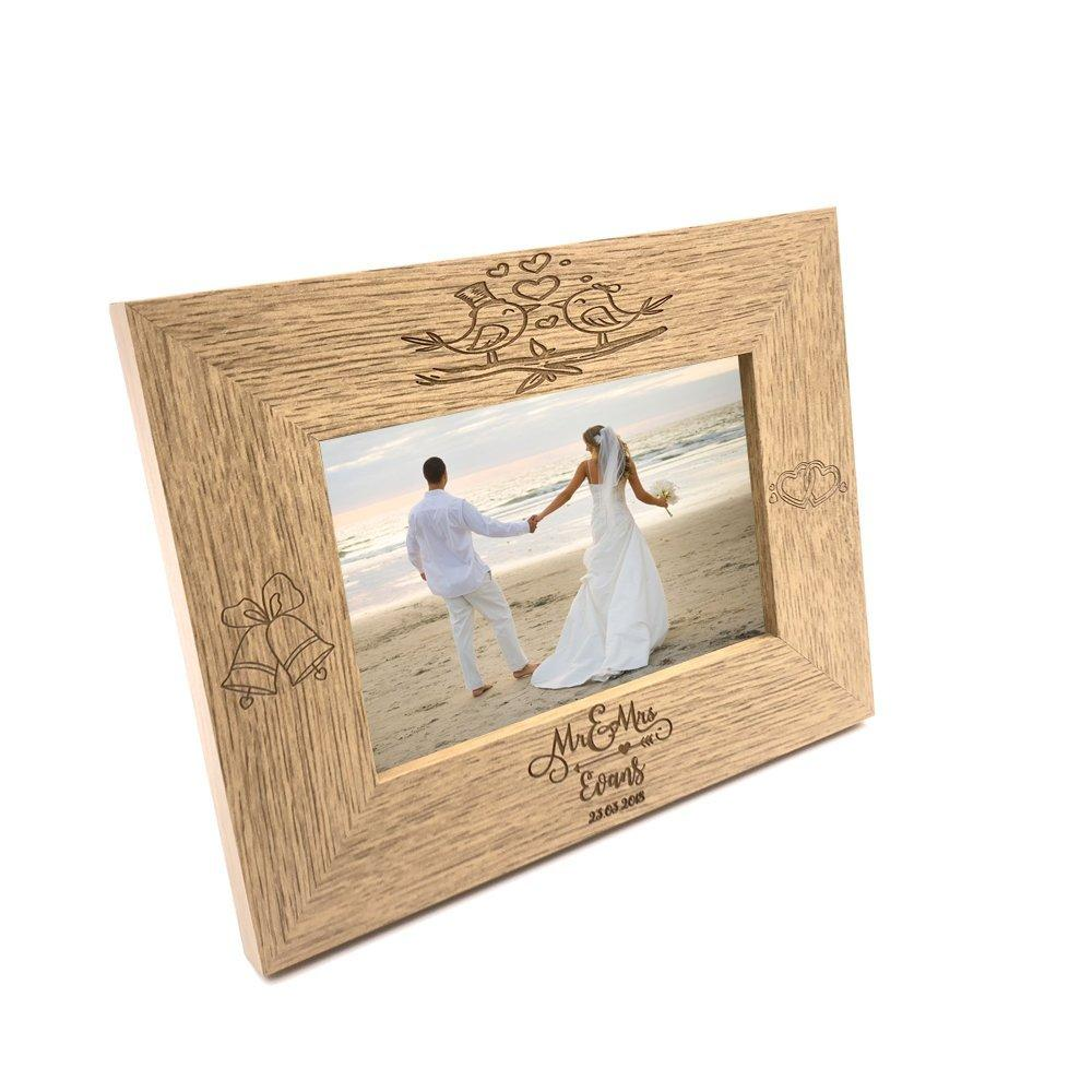 Personalised Mr and Mrs Love Birds Wooden Wedding Photo Frame Gift - ukgiftstoreonline