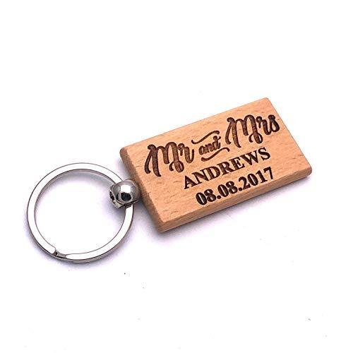 Personalised Mr and Mrs Wedding Engraved Wooden Keyring Gift - ukgiftstoreonline