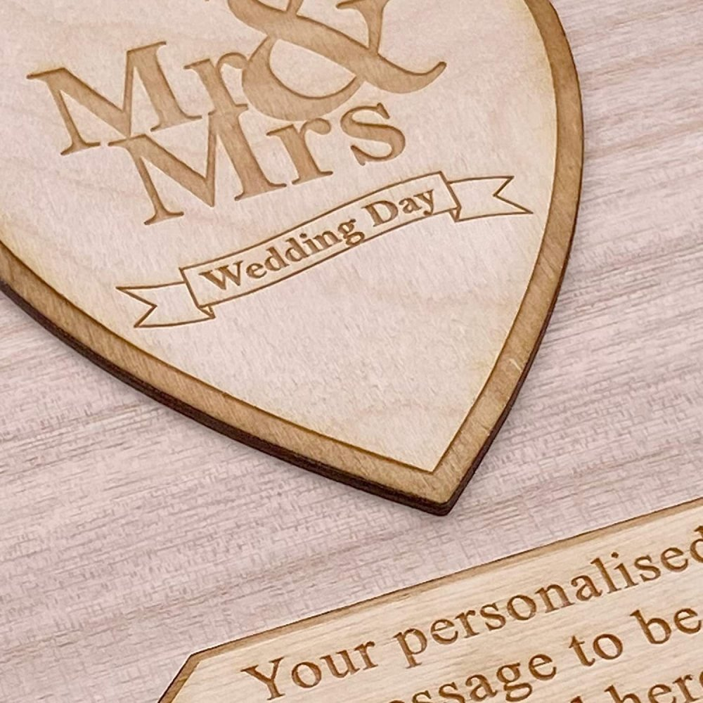 Personalised Mr and Mrs Wooden Keepsake Memory Wedding Gift Box - ukgiftstoreonline