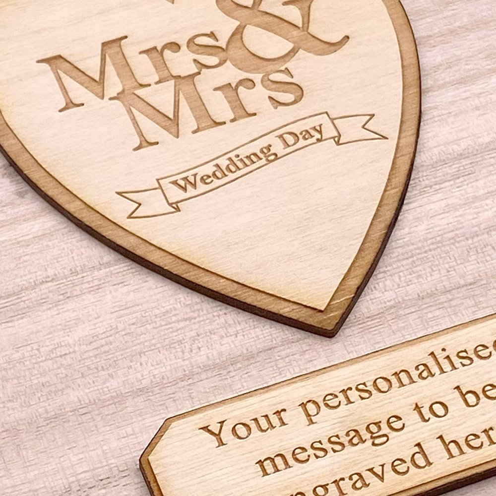 Personalised Mrs and Mrs Wooden Keepsake Memory Wedding Gift Box - ukgiftstoreonline