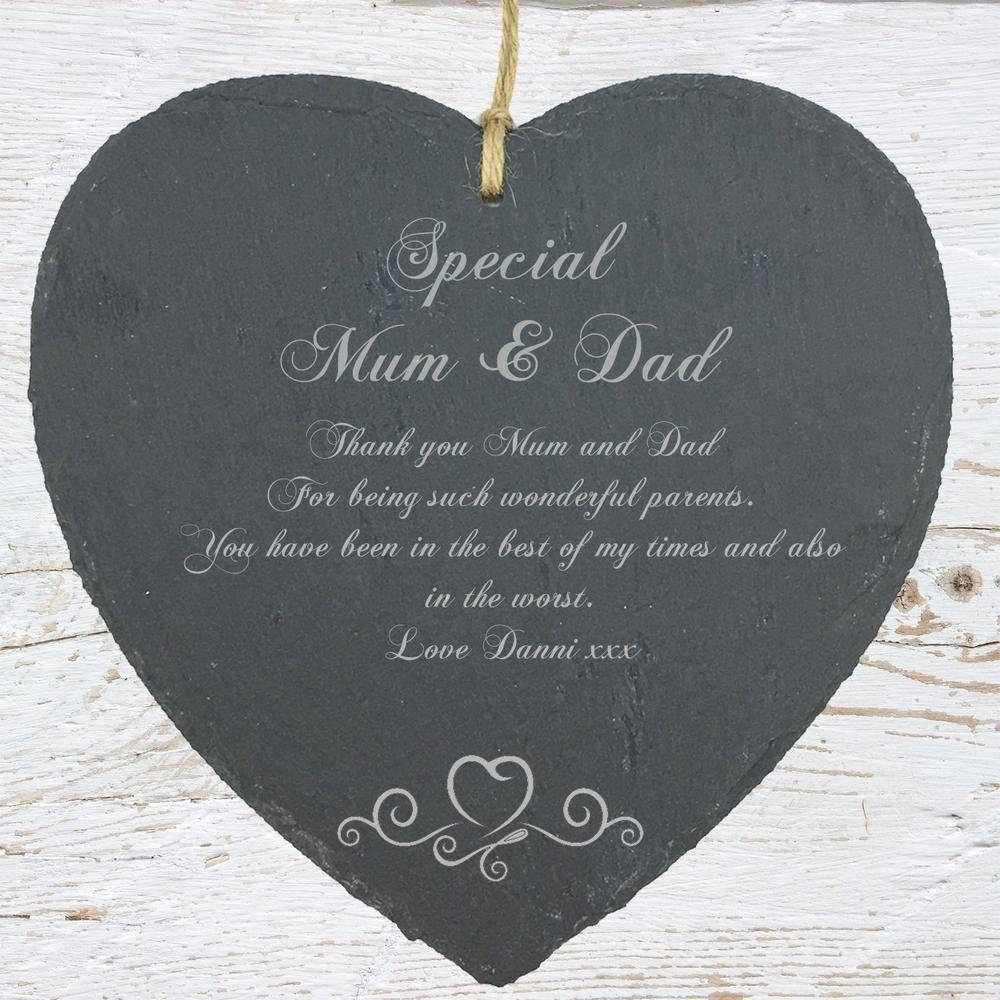 Personalised Mum and Dad Gift Slate Plaque Heart Symbol - ukgiftstoreonline