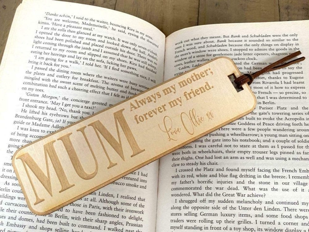 Personalised Mum Gift Wooden Bookmark with Sentiment - ukgiftstoreonline