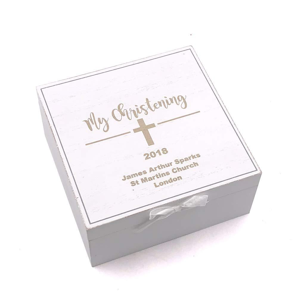 Personalised My Christening White Wooden Keepsake Box Gift - ukgiftstoreonline
