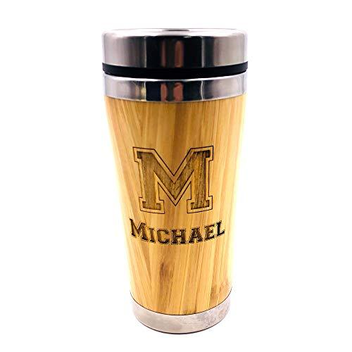 Personalised Name and Initial Reusable Sustainable Bamboo Travel Mug BAM-4 - ukgiftstoreonline