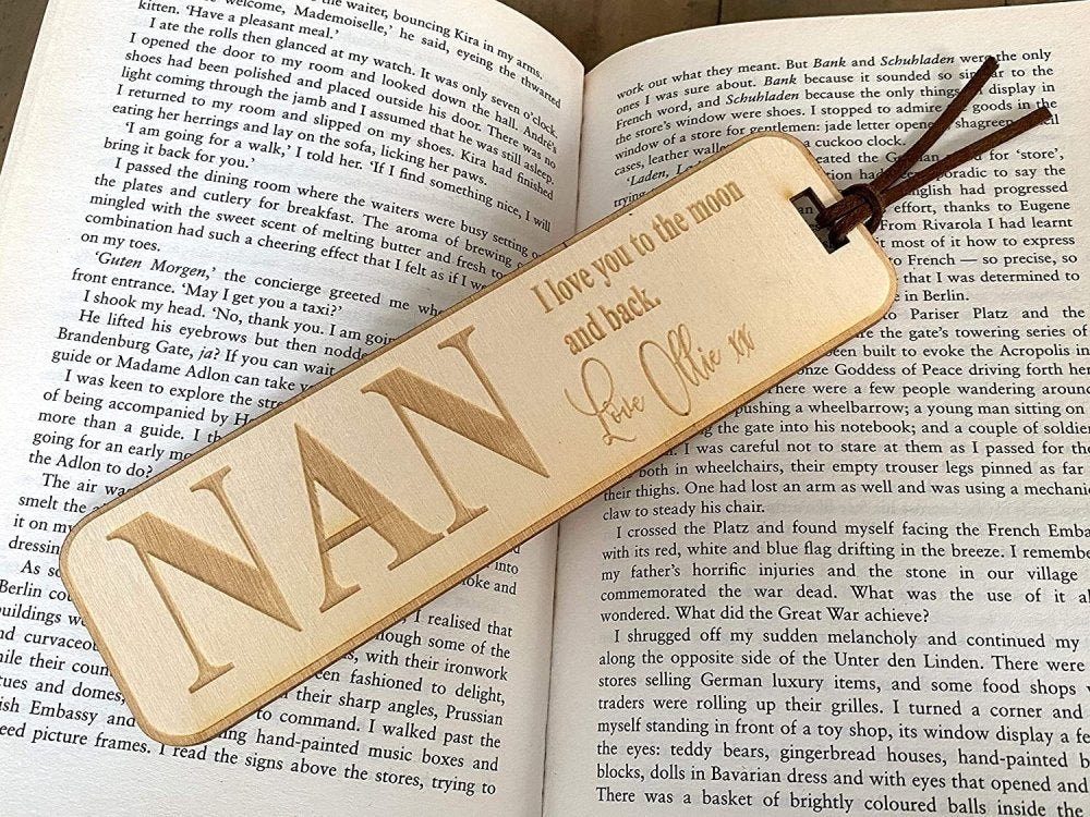 Personalised Nan Gift Wooden Bookmark with Sentiment - ukgiftstoreonline