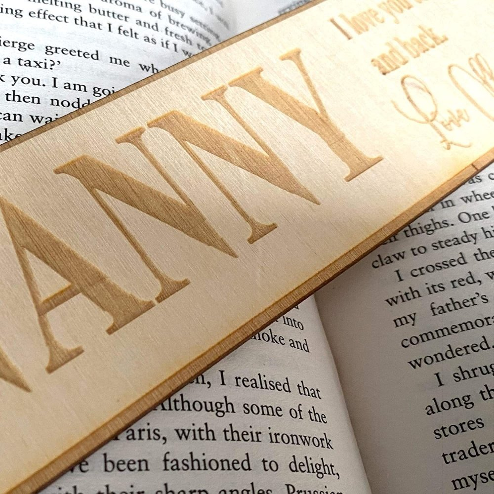 Personalised Nanny Gift Wooden Bookmark with Sentiment - ukgiftstoreonline