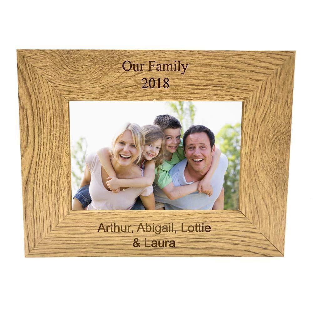 Personalised Oak Finish Landscape Photo Frame Glass Front Any Engraving Customised Gift - ukgiftstoreonline
