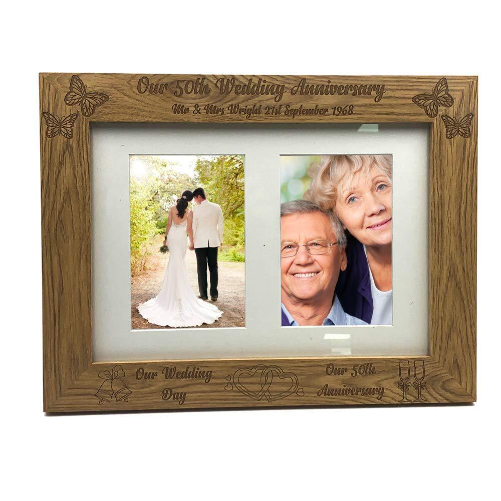 Personalised Our 50th Anniversary Double Wooden Photo Frame Gift - ukgiftstoreonline