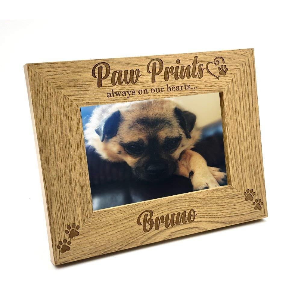 Personalised Pet Dog Photo Frame Remembrance Cat Puppy Paw Prints - ukgiftstoreonline