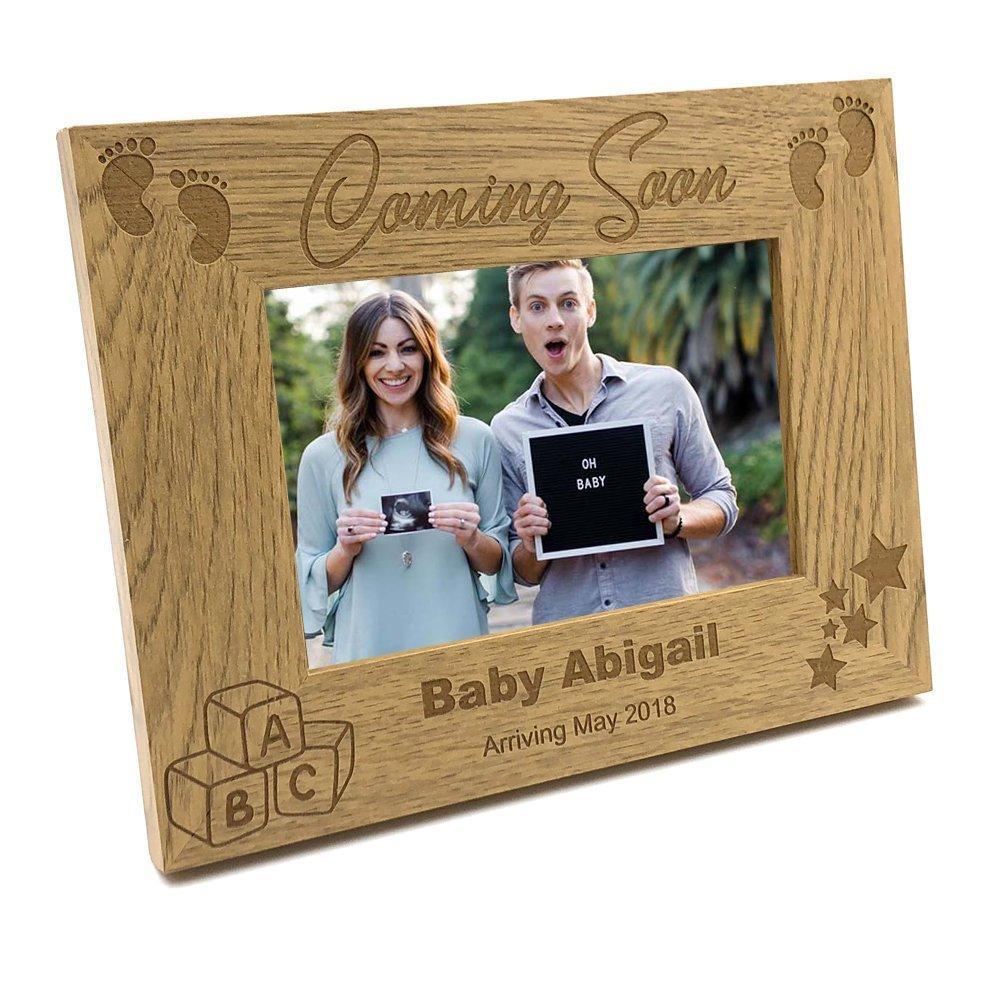 Personalised Pregnancy Announcement Wooden Baby Scan Photo Frame Gift - ukgiftstoreonline