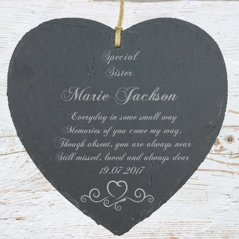 Personalised Sister Memorial Remembrance Slate Plaque Heart Symbol - ukgiftstoreonline