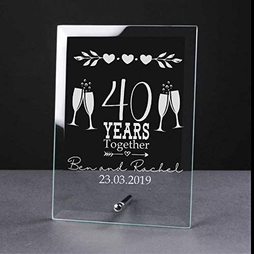 Personalised Wedding Glass Plaque 5th, 10th, 25th, 30th, 40th, 50th, 60th - ukgiftstoreonline