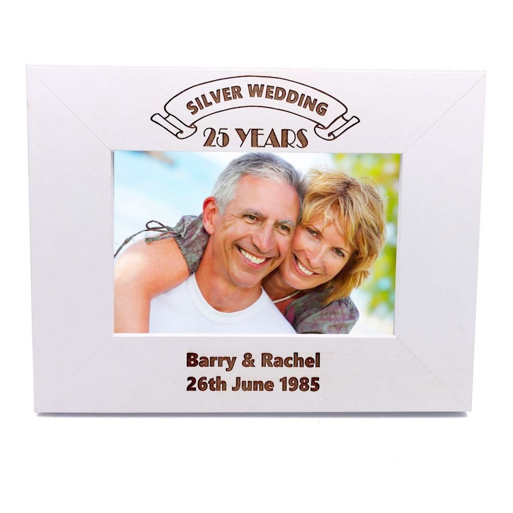 Personalised White Wooden Any Landmark Anniversary Photo Frame Gift - ukgiftstoreonline