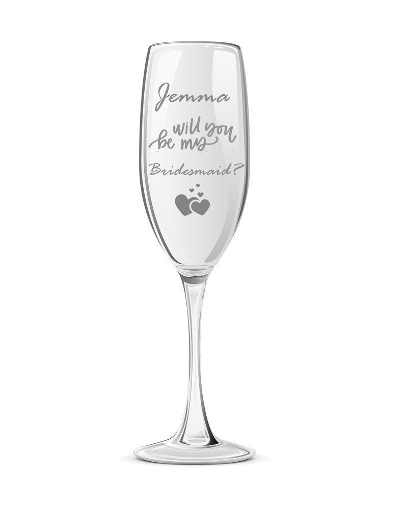 Personalised Will You Be My Bridesmaid Champagne Glass - ukgiftstoreonline