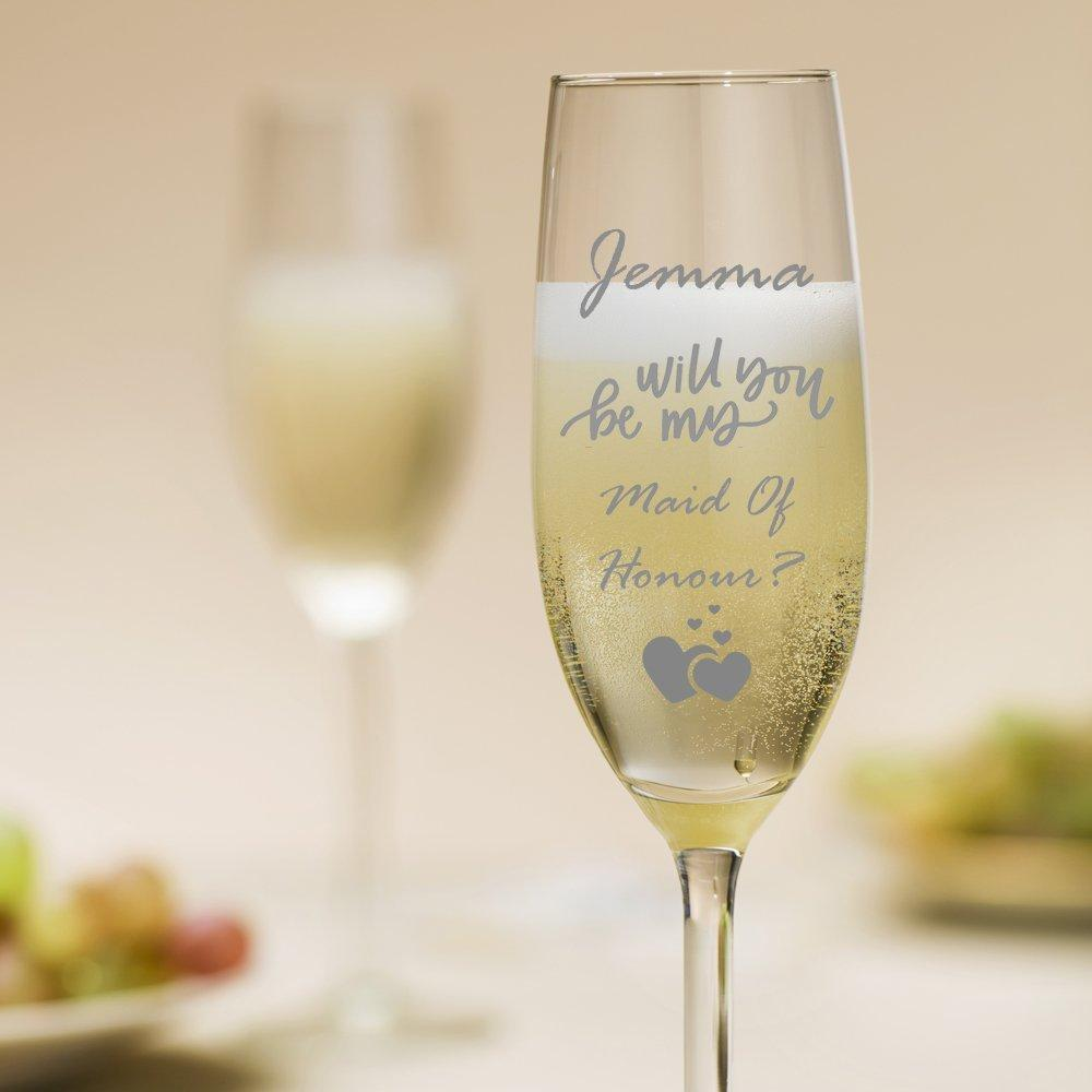 Personalised Will You Be My Maid Of Honour Champagne Glass - ukgiftstoreonline