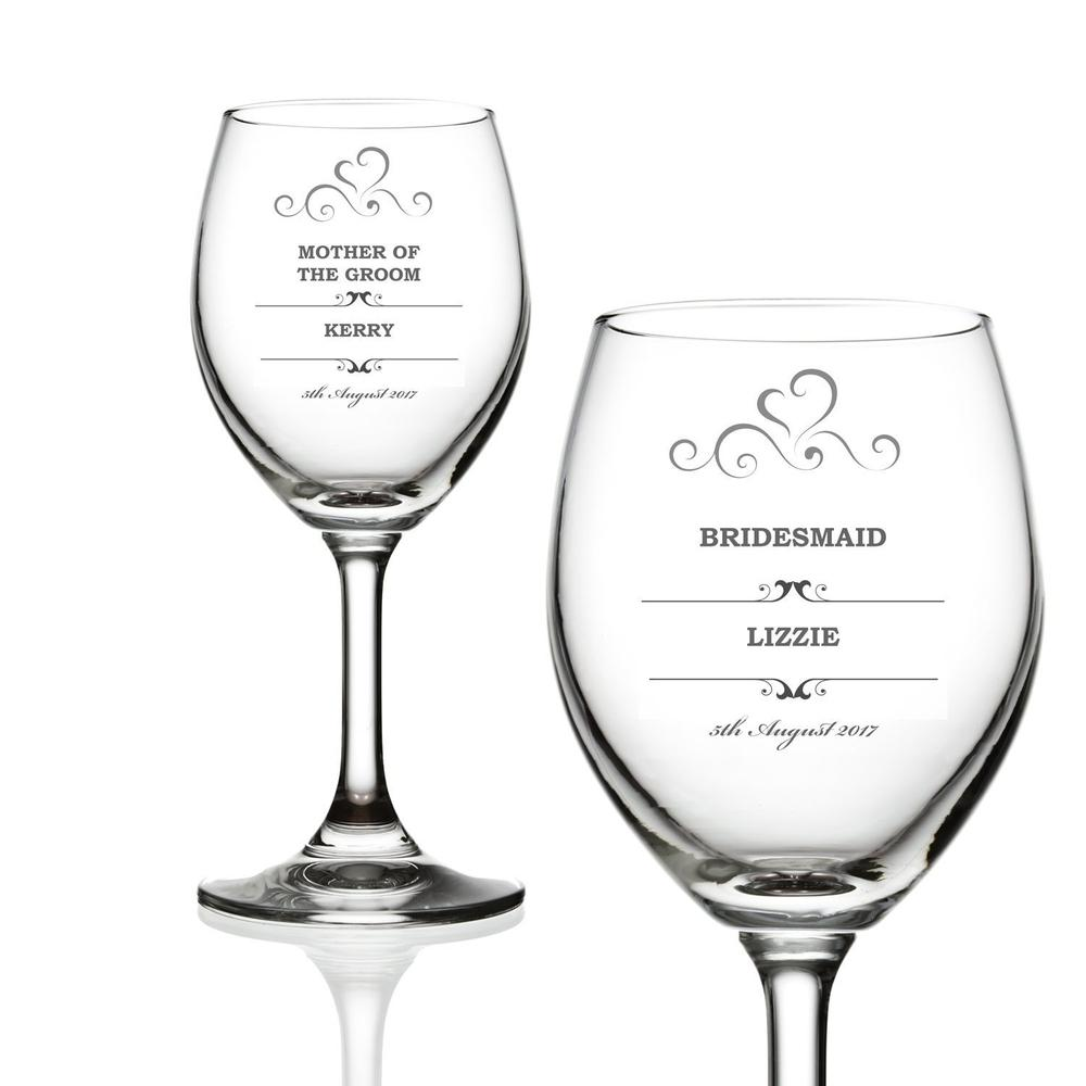 Personalised Wine Glass Wedding Favour Gift Bridesmaid Maid Honour - ukgiftstoreonline