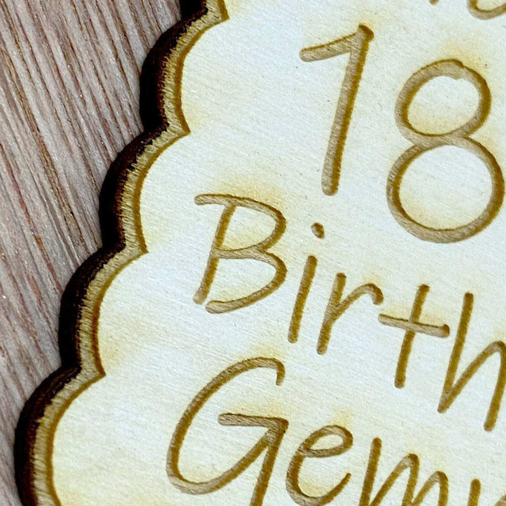 Personalised Wooden Engraved Birthday Gift Tag Any Age Name Fancy Tag Style, 13th, 16th, 18th, 21st, 30th, 40th, 50th, 60th - ukgiftstoreonline