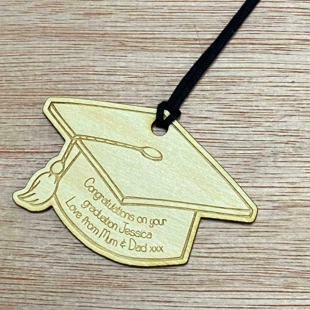 Personalised Wooden Graduation Gift Tag Hat Design - ukgiftstoreonline