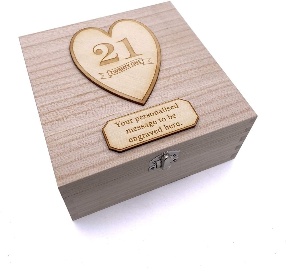 Personalised Wooden Keepsake Memory Birthday Gift Box 13th, 16th, 18th, 21st, 30th, 40th, 50th, 60th, 70th - ukgiftstoreonline