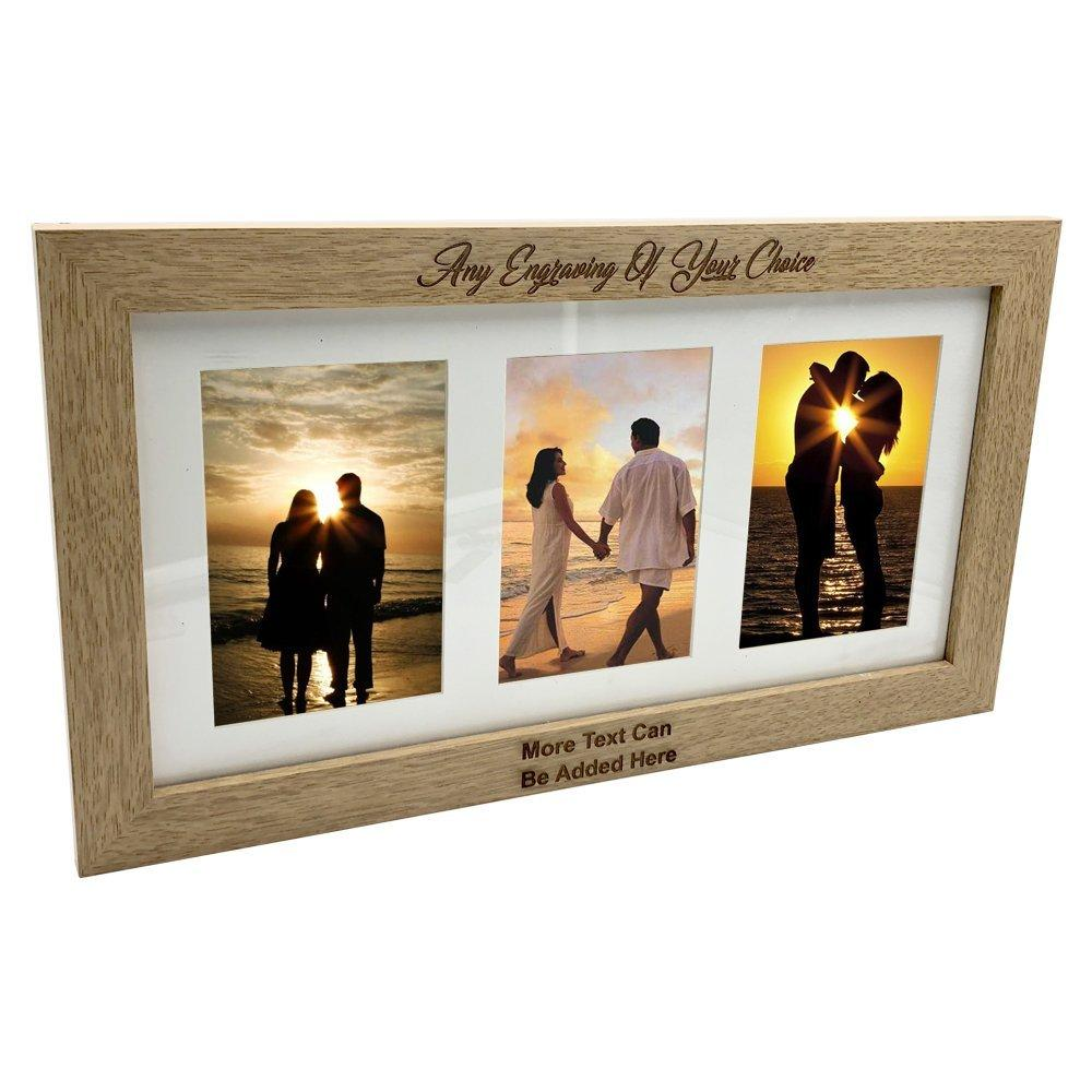 Personalised Wooden Triple Photo 6 x 4 Frame Custom Engraved Any Message - ukgiftstoreonline