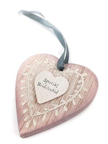 Pink wooden hanging heart - Bridesmaid ideal gift - ukgiftstoreonline