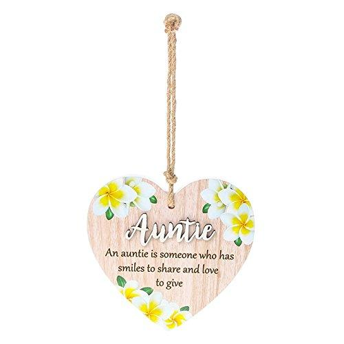 Pretty Words Auntie is someone who has smiles to share colourful heart plaque gift - ukgiftstoreonline