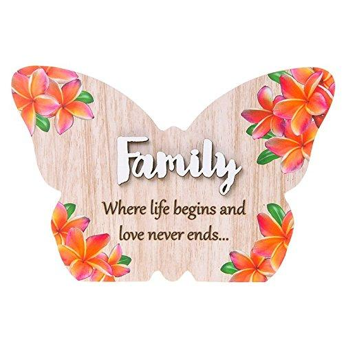 Pretty Words Family where life begins colourful butterfly plaque gift - ukgiftstoreonline