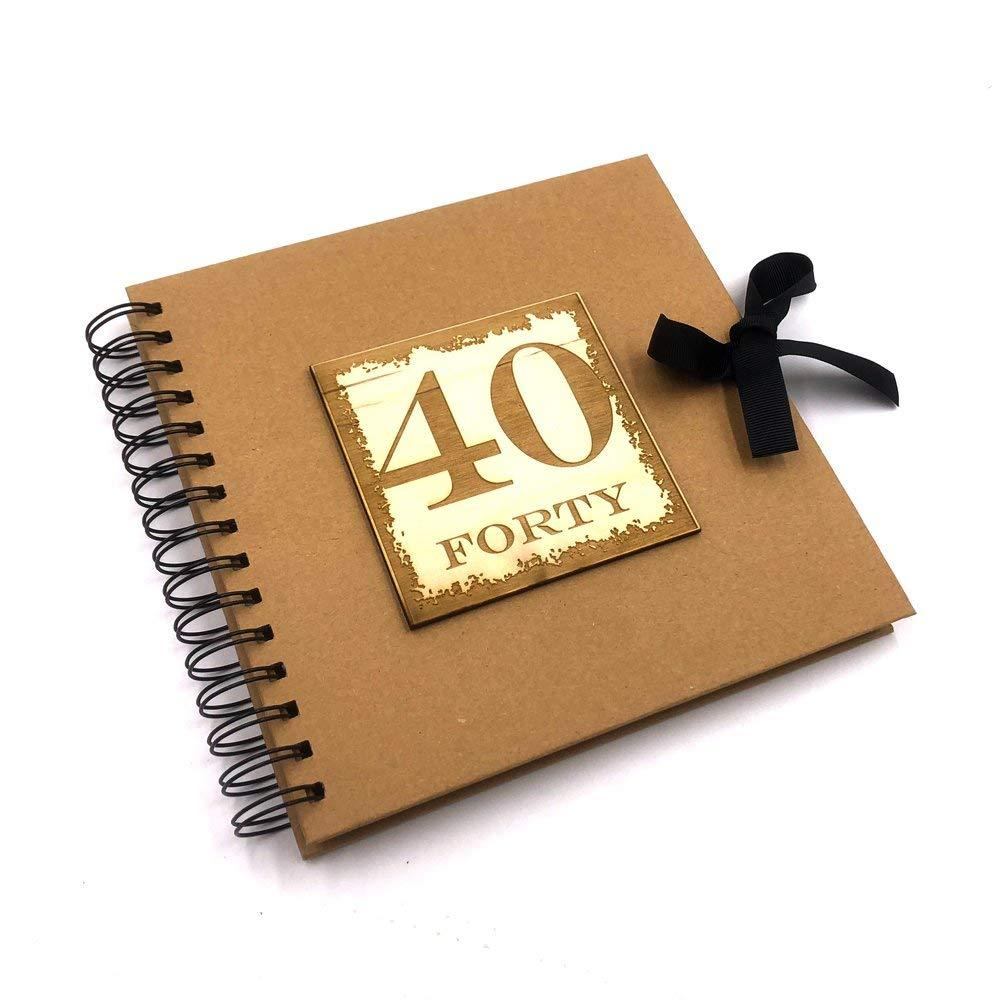 Raised Words 40th Birthday Scrapbook Photo Album or Guest Book - ukgiftstoreonline