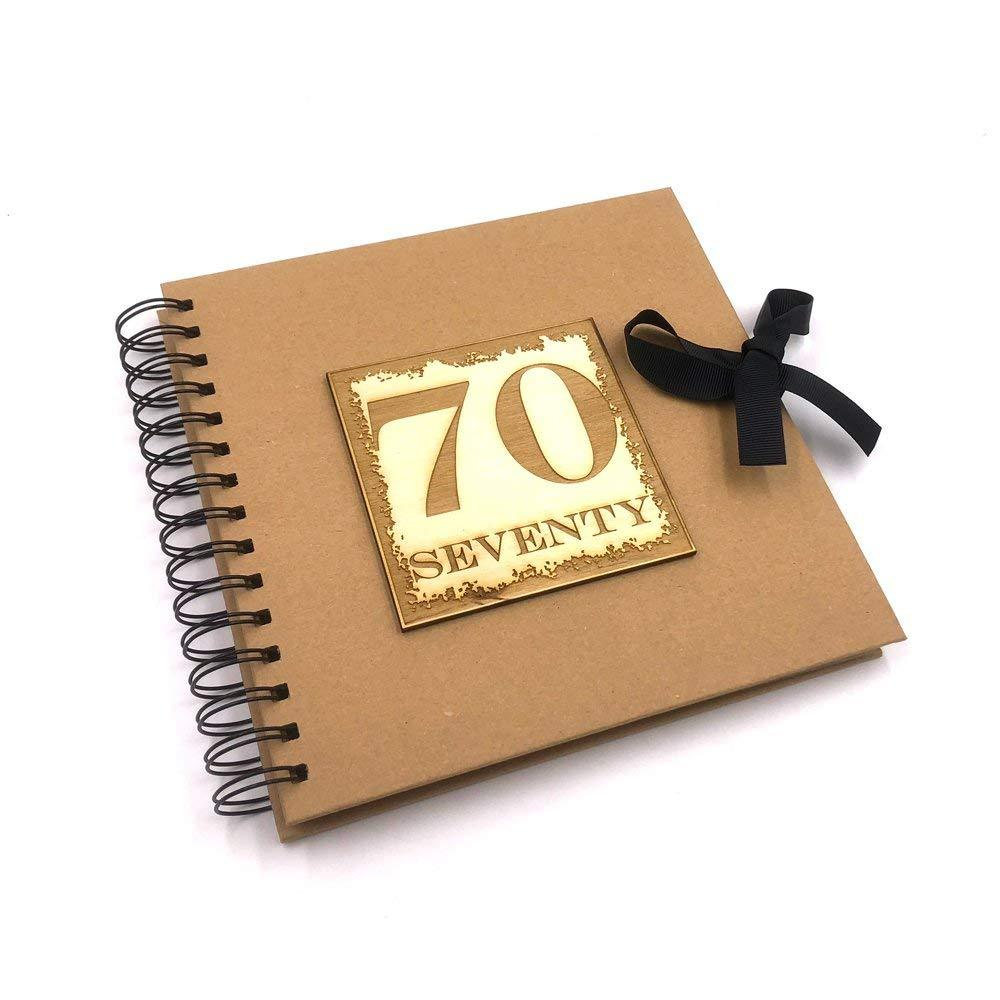Raised Words 70th Birthday Scrapbook Photo Album or Guest Book - ukgiftstoreonline