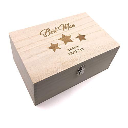 Raised Words Best Man Gift Personalised Large wooden Keepsake Box Gift - ukgiftstoreonline